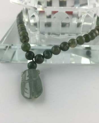 Vòng Cổ đá Agate đa Sắc Gắn Ngọc Thiền Jade