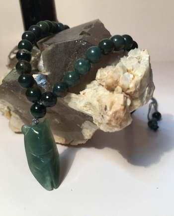Vòng Cổ đá Agate Xanh Gắn Ngọc Thiền Jade